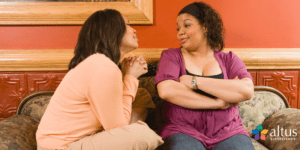 Breast Cancer talks with mom